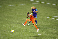 Orlando, FL - Thursday June 23, 2016: Poliana Barbosa during a regular season National Women's Soccer League (NWSL) match between the Orlando Pride and the Houston Dash at Camping World Stadium.