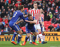 Chelsea's Gary Cahill celebrates scoring his sides second goal <br /> <br /> Photographer Mick Walker/CameraSport<br /> <br /> The Premier League - Stoke City v Chelsea - Saturday 18th March 2017 - bet365 Stadium - Stoke<br /> <br /> World Copyright &copy; 2017 CameraSport. All rights reserved. 43 Linden Ave. Countesthorpe. Leicester. England. LE8 5PG - Tel: +44 (0) 116 277 4147 - admin@camerasport.com - www.camerasport.com