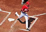 23 August 2009: Washington Nationals' outfielder Mike Morse easily crosses the plate with a squeeze play on, and Nyjer Morgan bunting in the second inning against the Milwaukee Brewers at Nationals Park in Washington, DC. The Nationals defeated the Brewers 8-3 to take the third game of their four-game series, snapping a five games losing streak. Mandatory Credit: Ed Wolfstein Photo