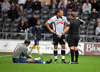 ATTENTION SPORTS PICTURE DESK<br /> Pictured: Referee R J Booth (R) talks to Shefki Kuqi of Swansea (C) about his challenge which brought Lee Grant (L) goalkeeper for Sheffield United injured on the ground.<br /> Re: Coca Cola Championship, Swansea City Football Club v Sheffield Wednesday at the Liberty Stadium, Swansea, south Wales. Saturday 13 Marchy 2010
