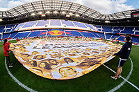 Harrison, NJ - Tuesday April 10, 2018: Champions League ball center circle banner.  prior to leg two of a  CONCACAF Champions League semi-final match between the New York Red Bulls and C. D. Guadalajara at Red Bull Arena. C. D. Guadalajara defeated the New York Red Bulls 0-0 (1-0 on aggregate).