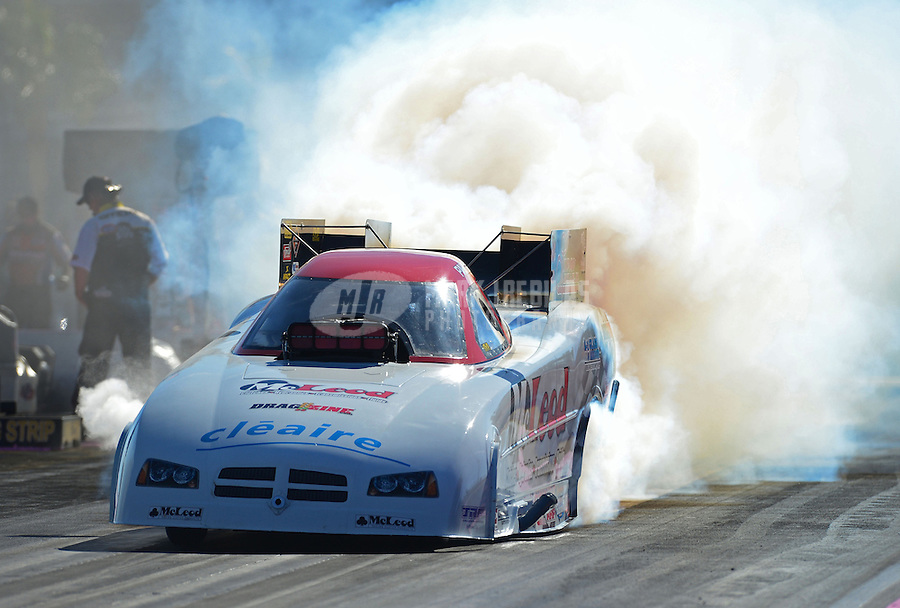 Oct. 28, 2012; Las Vegas, NV, USA: NHRA funny car driver Paul Lee during the Big O Tires Nationals at The Strip in Las Vegas. Mandatory Credit: Mark J. Rebilas-