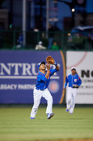 South Bend Cubs left fielder Kevonte Mitchell (25) settles under a fly ball during a game against the Clinton LumberKings on May 5, 2017 at Four Winds Field in South Bend, Indiana.  South Bend defeated Clinton 7-6 in nineteen innings.  (Mike Janes/Four Seam Images)