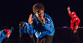 Centre: Jonzi D. Lyrikal Fearta - Redux revisits some of Jonzi's best known works, including Guilty, Shoota, Safe, Classroom, The Fast Lane and Cracked Mirror. To perform these pieces at the Lilian Baylis Studio at Sadler's Wells, Jonzi is joined by hip hop dance talent including Banxy, Bboy Tuway, Bboy Unique, Lil' Tim and from Boy Blue Entertainment Kenrick 'H2O' Sandy and Michael 'Mikey J' Asante. Photo credit: Bettina Strenske