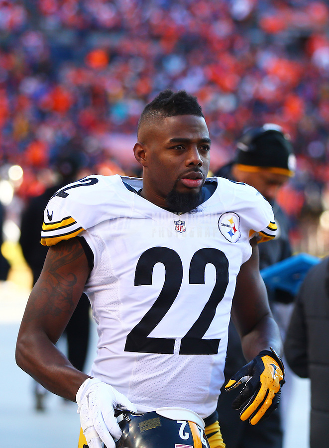 Jan 17, 2016; Denver, CO, USA; Pittsburgh Steelers cornerback William Gay (22) against the Denver Broncos during the AFC Divisional round playoff game at Sports Authority Field at Mile High. Mandatory Credit: Mark J. Rebilas-USA TODAY Sports