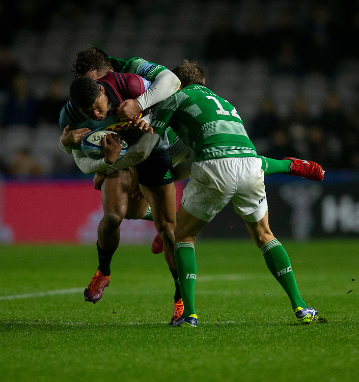 Harlequins' Nathan Earle is tackled by Newcastle Falcons' Toby Flood<br /> <br /> Photographer Bob Bradford/CameraSport<br /> <br /> Gallagher Premiership Round 7 - Harlequins v Newcastle Falcons - Friday 16th November 2018 - Twickenham Stoop - London<br /> <br /> World Copyright © 2018 CameraSport. All rights reserved. 43 Linden Ave. Countesthorpe. Leicester. England. LE8 5PG - Tel: +44 (0) 116 277 4147 - admin@camerasport.com - www.camerasport.com
