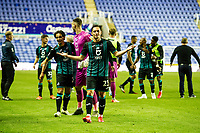 Connor Roberts of Swansea City celebrates at full time during the Sky Bet Championship match between Reading and Swansea City at the Madejski Stadium in Reading, England, UK. Wednesday 22 July 2020.