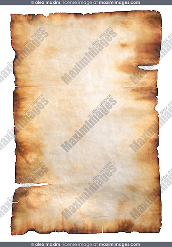 Stock Photo Of A Vintage Rustic Yellowish Parchment Paper With Burnt Edges Isolated Silhouette On White