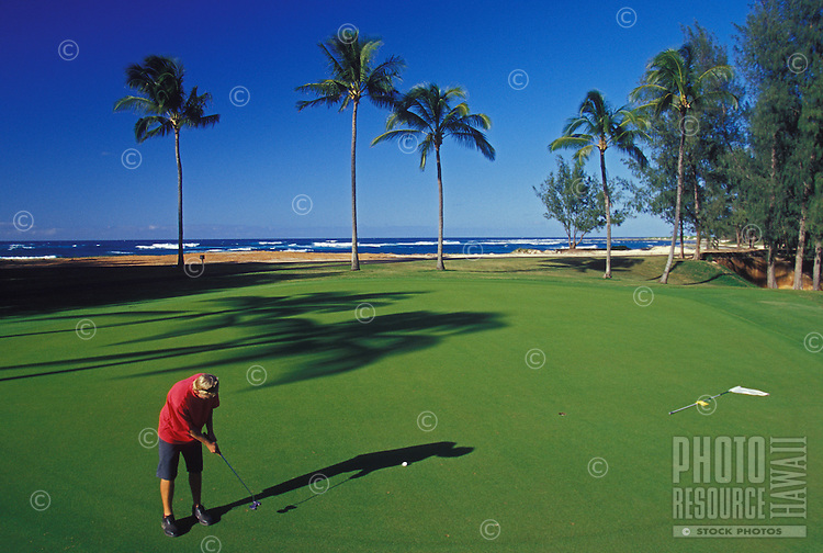Golfing at the Turtle bay resort, north shore of Oahu
