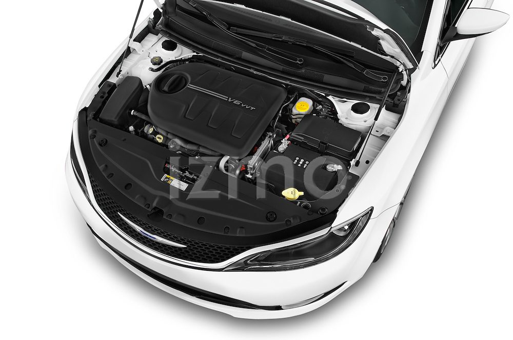Car Stock2015 Chrysler 200 C 4 Door Sedan Engine high angle detail view