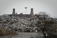 Debris from the flooded houses in Breezy Point, New York are stored in one of the parking of the Jacob Riis Park, few miles from the village.