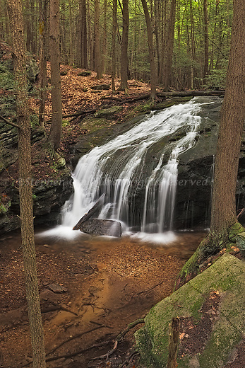 Hop Brook Falls in the Holland Glen area of the Metacomet-Monandnock Trail in Belchertown, Massachusetts.
