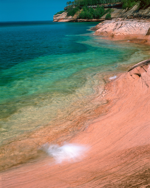 Morning light on the eroded shore of Lake Superior at Miners Beach; Pictured Rocks National Lakeshore, MI