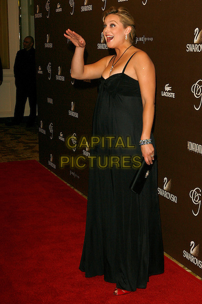 ELISABETH ROHM.The 10th Annual Costume Designers Guild Awards held at the Beverly Wilshire Hotel, Beverly Hills, California, USA..February 19th, 2008.full length black dress Elizabeth clutch bag purse hand waving mouth open pregnant .CAP/ADM/ZL.© Zach Lipp/AdMedia/Capital Pictures.