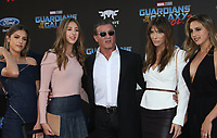 "HOLLYWOOD, CA - April 19: Scarlet Rose Stallone, Sistine Rose Stallone, Sylvester Stallone, Jennifer Flavin, Sophia Rose Stallone, At Premiere Of Disney And Marvel's ""Guardians Of The Galaxy Vol. 2"" At The Dolby Theatre  In California on April 19, 2017. Credit: FS/MediaPunch"