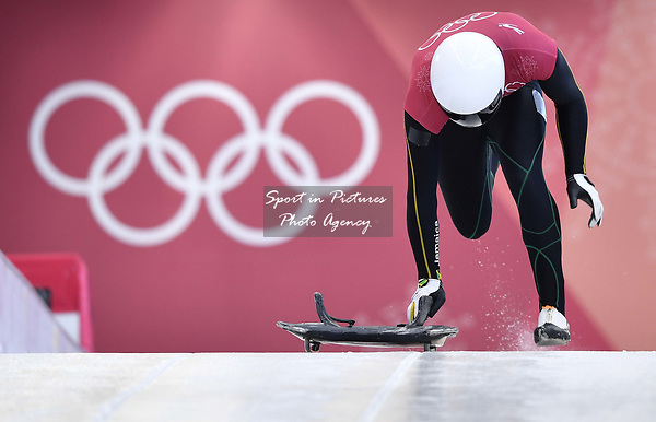 Anthony Watson (JAM). Skeleton training. Alpensia sliding centrePyeongchang2018 winter Olympics. Alpensia. Republic of Korea. 13/02/2018. ~ MANDATORY CREDIT Garry Bowden/SIPPA - NO UNAUTHORISED USE - +44 7837 394578