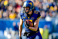 Morgantown, WV - NOV 10, 2018: West Virginia Mountaineers wide receiver David Sills V (13) converts a first down during first half action of game between West Virginia and TCU at Mountaineer Field at Milan Puskar Stadium Morgantown, West Virginia. (Photo by Phil Peters/Media Images International)