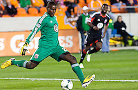 Bill Hamid (GK) of D.C United, clears the ball during the scond half at BBVA Compass Stadium. Houston beat D.C United, 2-0 in the MLS season opener.