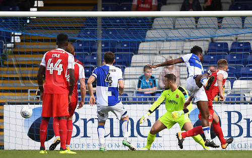 26th August 2017, Memorial Stadium, Bristol, England; EFL League One football, Bristol Rovers versus Fleetwood Town; Ellis Harrison of Bristol Rovers rises highest to score third goal for Bristol Rovers
