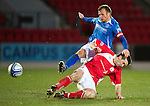 St Johnstone v Brechin...07.01.12  Scottish Cup Round 4.Jody Morris is tackled by Craig Molloy.Picture by Graeme Hart..Copyright Perthshire Picture Agency.Tel: 01738 623350  Mobile: 07990 594431