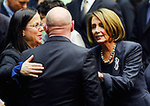 "United States House Minority leader Nancy Pelosi (Democrat of California) (R) comforts NASA astronaut Mark Kelly (C), husband of U.S. Representative Gabrielle Giffords (Democrat of Arizona), at the event ""Together We Thrive: Tucson and America"" honoring the January 8 shooting victims at McKale Memorial Center on the University of Arizona campus on Wednesday, January 12, 2011 in Tucson, Arizona. The memorial service is in honor of victims of the mass shooting at a Safeway grocery store that killed six and injured at least 13 others, including U.S. Representative Gabrielle Giffords (Democrat of Arizona), who remains in critical condition after being shot in the head. Among those killed were U.S. District Judge John Roll, 63; Giffords' director of community outreach, Gabe Zimmerman, 30; and 9-year-old Christina Taylor Green. .Credit: Kevork Djansezian / Pool via CNP"