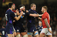 Tempers flair between Wales' Ross Moriarty and Scotland's Ryan Wilson <br /> <br /> Photographer Ian Cook/CameraSport<br /> <br /> Under Armour Series Autumn Internationals - Wales v Scotland - Saturday 3rd November 2018 - Principality Stadium - Cardiff<br /> <br /> World Copyright &copy; 2018 CameraSport. All rights reserved. 43 Linden Ave. Countesthorpe. Leicester. England. LE8 5PG - Tel: +44 (0) 116 277 4147 - admin@camerasport.com - www.camerasport.com
