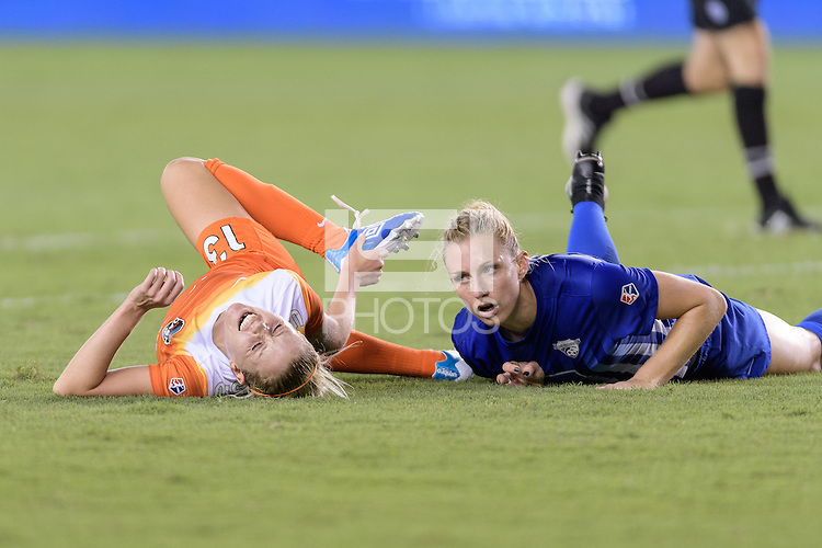 Houston, TX - Sunday Sept. 11, 2016: Denise O'Sullivan, Rachel Wood during a regular season National Women's Soccer League (NWSL) match between the Houston Dash and the Boston Breakers at BBVA Compass Stadium.