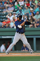 Third baseman J.C. Rodriguez (13) of the Columbia Fireflies bats in a game against the Greenville Drive on Saturday, April 23, 2016, at Fluor Field at the West End in Greenville, South Carolina. Columbia won, 7-3. (Tom Priddy/Four Seam Images)