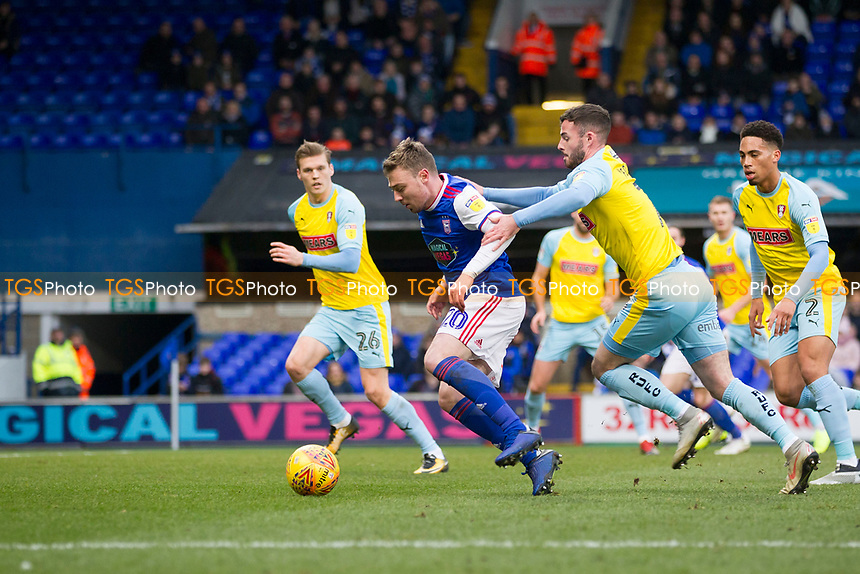 Freddie Sears of Ipswich Town tries to get through the Rotherham defence during Ipswich Town vs Rotherham United, Sky Bet EFL Championship Football at Portman Road on 12th January 2019