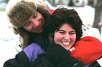 Romantic couple age 35 having fun in the snow.  Minneapolis Minnesota USA