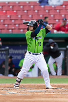 Kane County Cougars catcher Jose Herrera (10) during a Midwest League game against the Cedar Rapids Kernels at Northwestern Medicine Field on April 28, 2019 in Geneva, Illinois. Cedar Rapids defeated Kane County 3-2 in game two of a doubleheader. (Zachary Lucy/Four Seam Images)