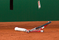 11-07-13, Netherlands, Scheveningen,  Mets, Tennis, Sport1 Open, day four,) Ivan Sergeyev (UKR) breaks his racket hit of frustration<br /> <br /> <br /> Photo: Henk Koster