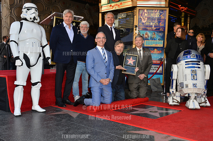 Harrison Ford, George Lucas, Mitch O'Farrell, Jeff Zarrinnam, Mark Hamill &amp; Leron Gubler at the Hollywood Walk of Fame Star Ceremony honoring actor Mark Hamill, Los Angeles, USA 08 March 2018<br /> Picture: Paul Smith/Featureflash/SilverHub 0208 004 5359 sales@silverhubmedia.com