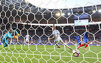 Djibril Sidibe (Monaco) of France scores his goal past Goalkeeper Tom Heaton (Burnley) of England during the International Friendly match between France and England at Stade de France, Paris, France on 13 June 2017. Photo by David Horn/PRiME Media Images.
