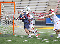 College Park, MD - May 13, 2018: Robert Morris Colonials Jimmy Perkins (4) scores a goal during the NCAA first round game between Robert Morris and Maryland at  Capital One Field at Maryland Stadium in College Park, MD.  (Photo by Elliott Brown/Media Images International)