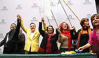 BOGOTA -COLOMBIA. 14-03-2014. Las candidatas presidenciales Clara Lopez   y Aida Abella de la izquierda colombiana se unieron como formula para los comicios presidenciales 2014 -2018 ,su inscripcion se hizo ante  el registrador nacional Carlos Ariel Sanchez  / The presidential candidate Clara Lopez  and Aida Abella of the Colombian left joined as formulated for the presidential election 2014 -2018, his registration was made before the National Registrar Carlos Ariel Sanchez.   Photo: VizzorImage/ Felipe Caicedo / Staff