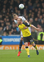 Bolton Wanderers Mark Beevers in action with Burton Albion's Liam Boyce<br /> <br /> Photographer Mick Walker/CameraSport<br /> <br /> The EFL Sky Bet Championship - Burton Albion v Bolton Wanderers - Saturday 28th April 2018 - Pirelli Stadium - Burton upon Trent<br /> <br /> World Copyright &copy; 2018 CameraSport. All rights reserved. 43 Linden Ave. Countesthorpe. Leicester. England. LE8 5PG - Tel: +44 (0) 116 277 4147 - admin@camerasport.com - www.camerasport.com