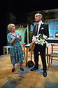 London, UK. 11.09.2014. Sarah Stribley Productions presents GHOST FROM A PERFECT PLACE, by Philip Ridley, opens at the Arcola Theatre. Directed by Russell Bolam, with lighting design by Malcolm Rippeth and set and costume design by Anthony Lamble. Picture shows: Sheila Reid (Torchie Sparks) and Michael Feast (Travis Flood).  Photograph © Jane Hobson.