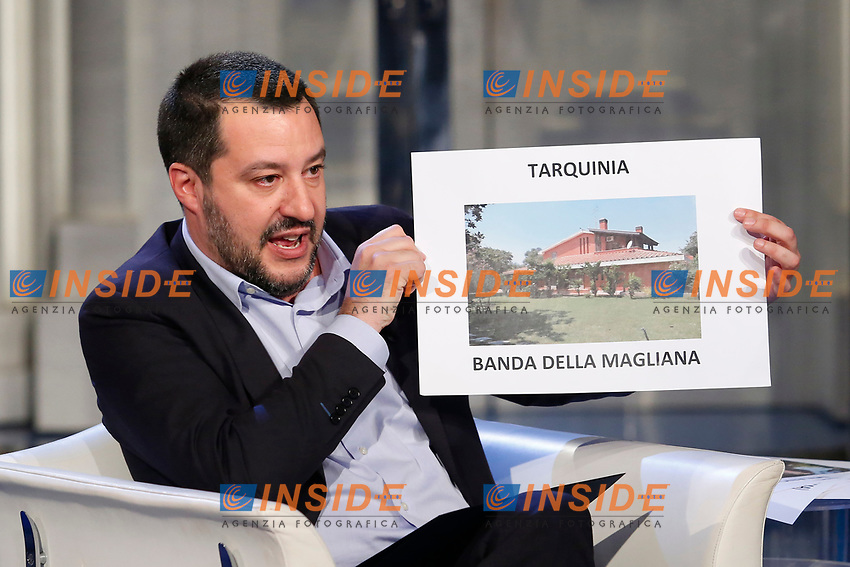 Matteo Salvini showing some villas sequestered to mobster clans <br /> Rome January 10th 2019. The Italian Minister of Internal Affairs appears as a guest on the tv show Porta a Porta<br /> Foto Samantha Zucchi Insidefoto