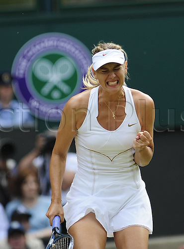 02.07.2011. Wimbledon, London. Ladies singles final match.  Maria  Sharapova of Russia reacts during her Final Match Against Petra Kvitova of Czech Republic in 2011 Wimbledon Championships in London Britain