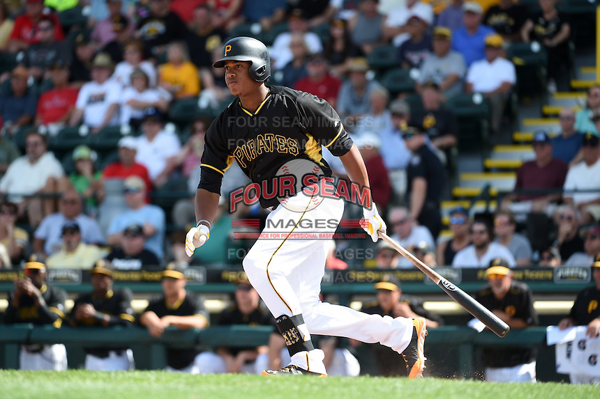 Pittsburgh Pirates outfielder Willy Garcia (73) during a Spring Training game against the Minnesota Twins on March 13, 2015 at McKechnie Field in Bradenton, Florida.  Minnesota defeated Pittsburgh 8-3.  (Mike Janes/Four Seam Images)