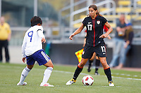 14 MAY 2011: USA Women's National Team midfielder Tobin Heath (17) and Japan National team Shinobu Ohno during the International Friendly soccer match between Japan WNT vs USA WNT at Crew Stadium in Columbus, Ohio.