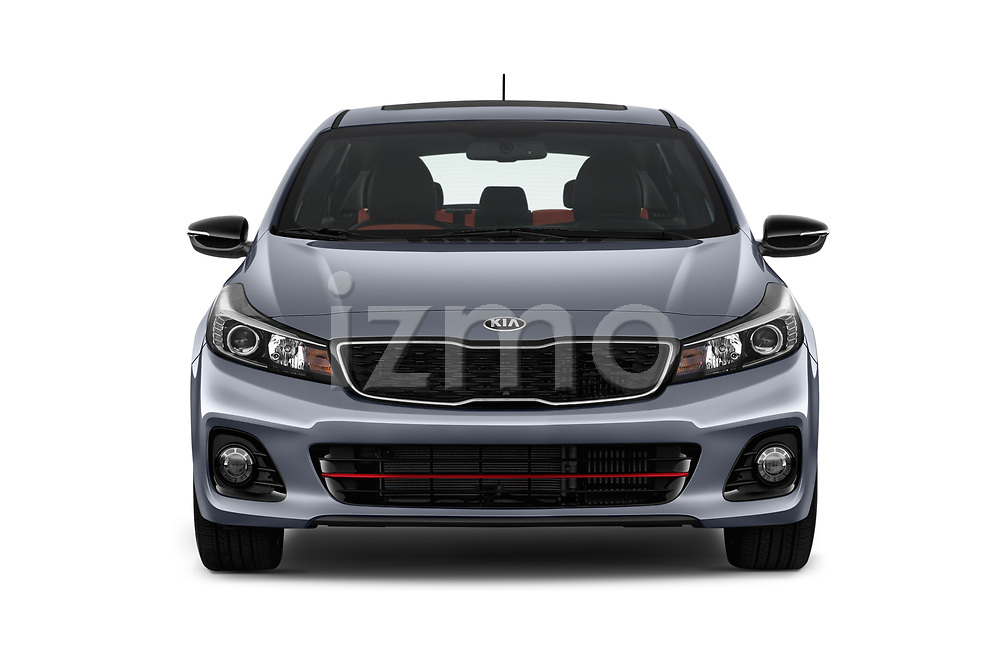Car photography straight front view of a 2017 KIA Forte5 SX 5 Door Hatchback Front View
