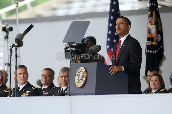 U.S. President Barack Obama delivers the commencement speech during graduation and commissioning ceremonies at the United States Military Academy at West Point in West Point, New York.  May 22, 2010.Credit: Dennis Van Tine/MediaPunch