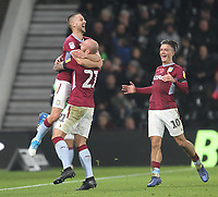 Aston Villa's Conor Hourihane celebrates scoring his sides third goal <br /> <br /> Photographer Mick Walker/CameraSport<br /> <br /> The EFL Sky Bet Championship - Derby County v Aston Villa - Saturday 10th November 2018 - Pride Park - Derby<br /> <br /> World Copyright &copy; 2018 CameraSport. All rights reserved. 43 Linden Ave. Countesthorpe. Leicester. England. LE8 5PG - Tel: +44 (0) 116 277 4147 - admin@camerasport.com - www.camerasport.com