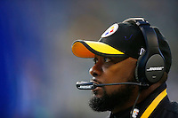 Head coach Mike Tomlin of the Pittsburgh Steelers looks on against the Seattle Seahawks during the game at CenturyLink Field on November 29, 2015 in Seattle, Washington. (Photo by Jared Wickerham/DKPittsburghSports)