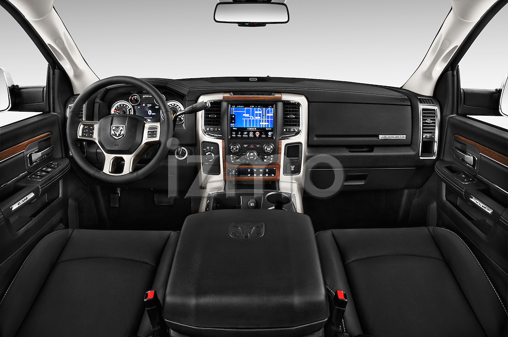 Stock photo of straight dashboard view of a 2015 Ram 3500 Laramie Mega Cab 4 Door Van