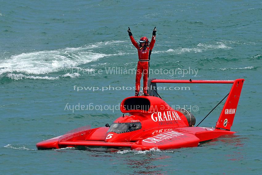 "Winner J. Michael Kelly, U-5 ""Graham Trucking I"" celebrates.   (Unlimited Hydroplane)"