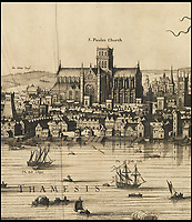 BNPS.co.uk (01202 558833)<br /> Pic: Christies/BNPS<br /> <br /> The old 'St Paules' cathedral is also depicted.<br /> <br /> A remarkable 393 year old panorama of London which reveals how the city looked before the great fire destroyed large parts of it has sold at auction for &pound;106,000.<br /> <br /> The 7ft panorama, taken from the South Bank, has the old St Paul's Cathedral and London Bridge, which were rebuilt following the blaze, as central features.<br /> <br /> Remarkably, its creator, the Dutch engraver and cartographer Claes Jansz Visscher, never visited London, so the panorama required some imagination - the Tower of London boasts onion-styled domes.<br /> <br /> It is one of only two known copies to exist, with the other one residing in the Folger Library in Washington DC, United States.