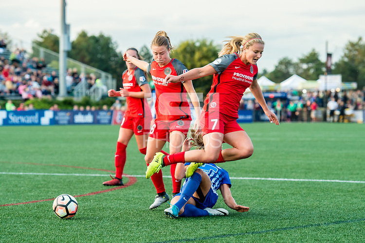Boston, MA - Sunday September 10, 2017: Meleana Shim, Rosie White and Lindsey Horan during a regular season National Women's Soccer League (NWSL) match between the Boston Breakers and Portland Thorns FC at Jordan Field.
